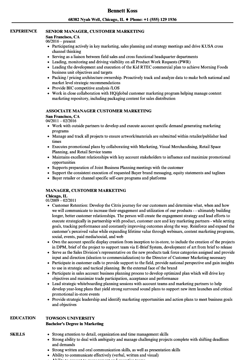manager customer marketing resume samples velvet jobs