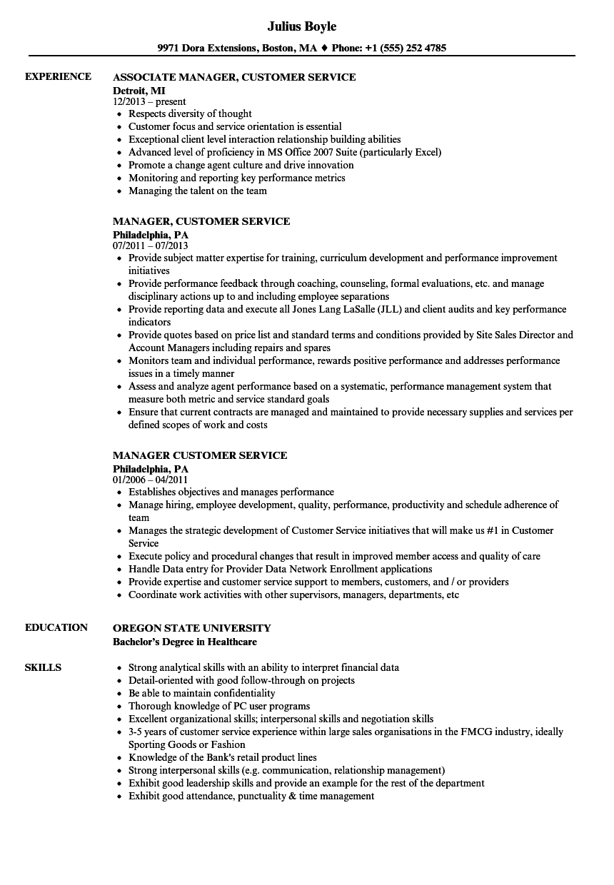 manager customer service resume samples