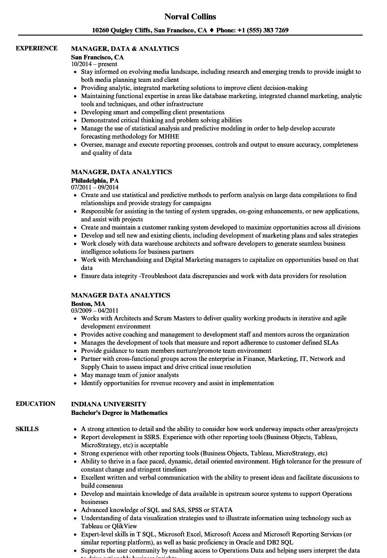 Manager, Data Analytics Resume Samples | Velvet Jobs