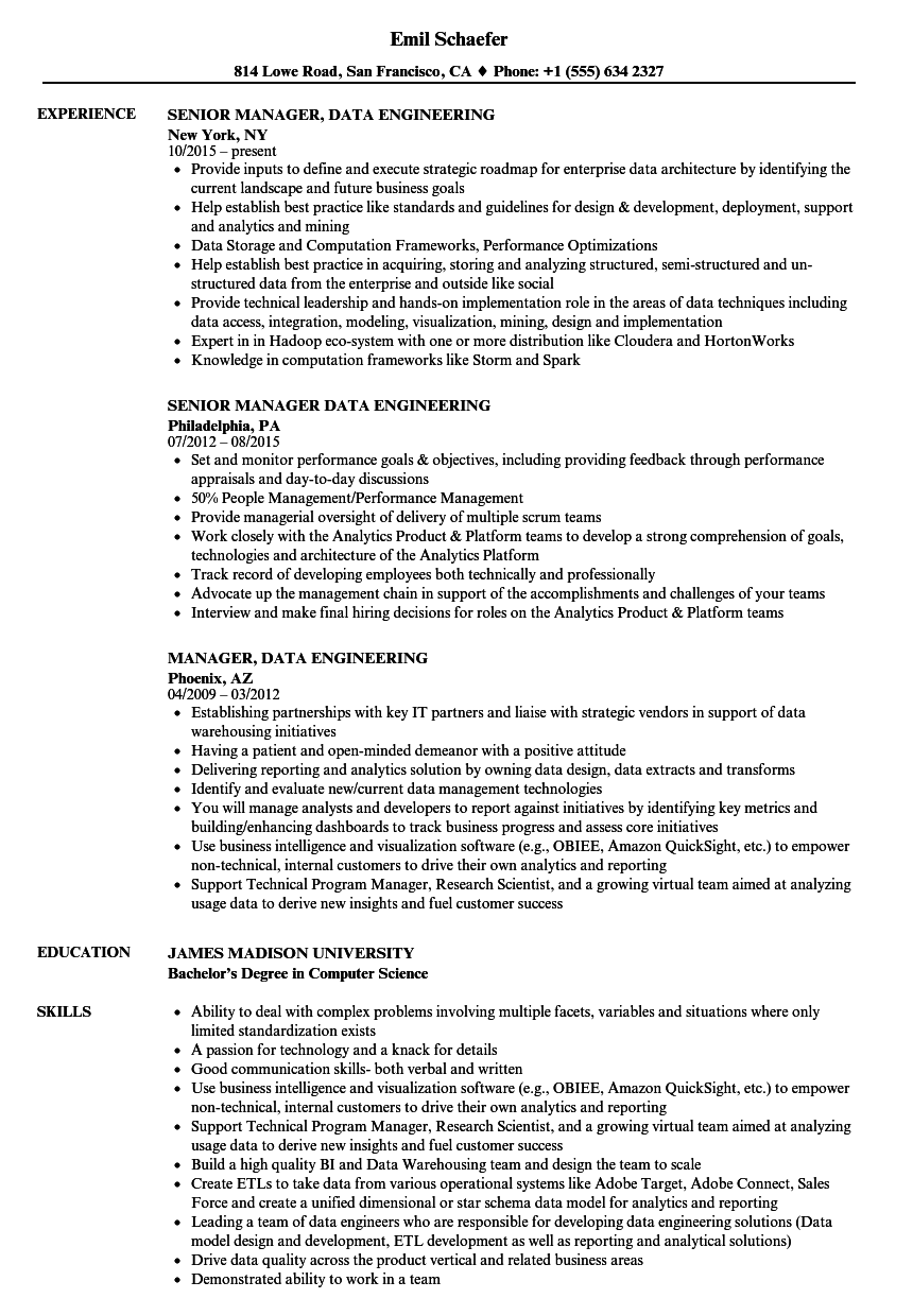 manager data engineering resume samples velvet jobs