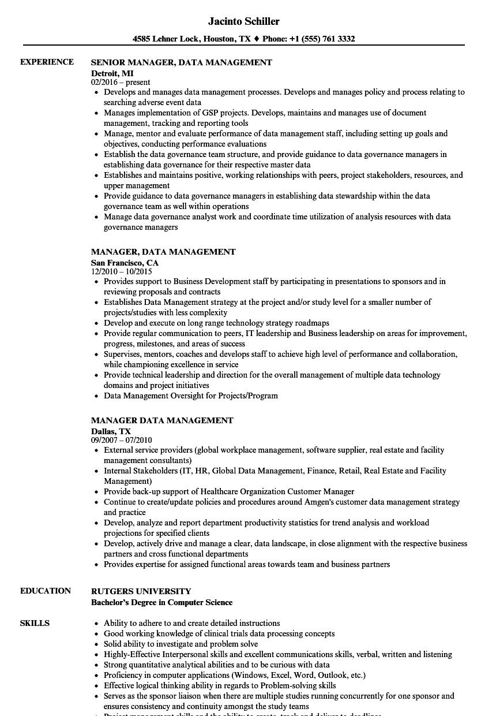 Manager, Data Management Resume Samples | Velvet Jobs