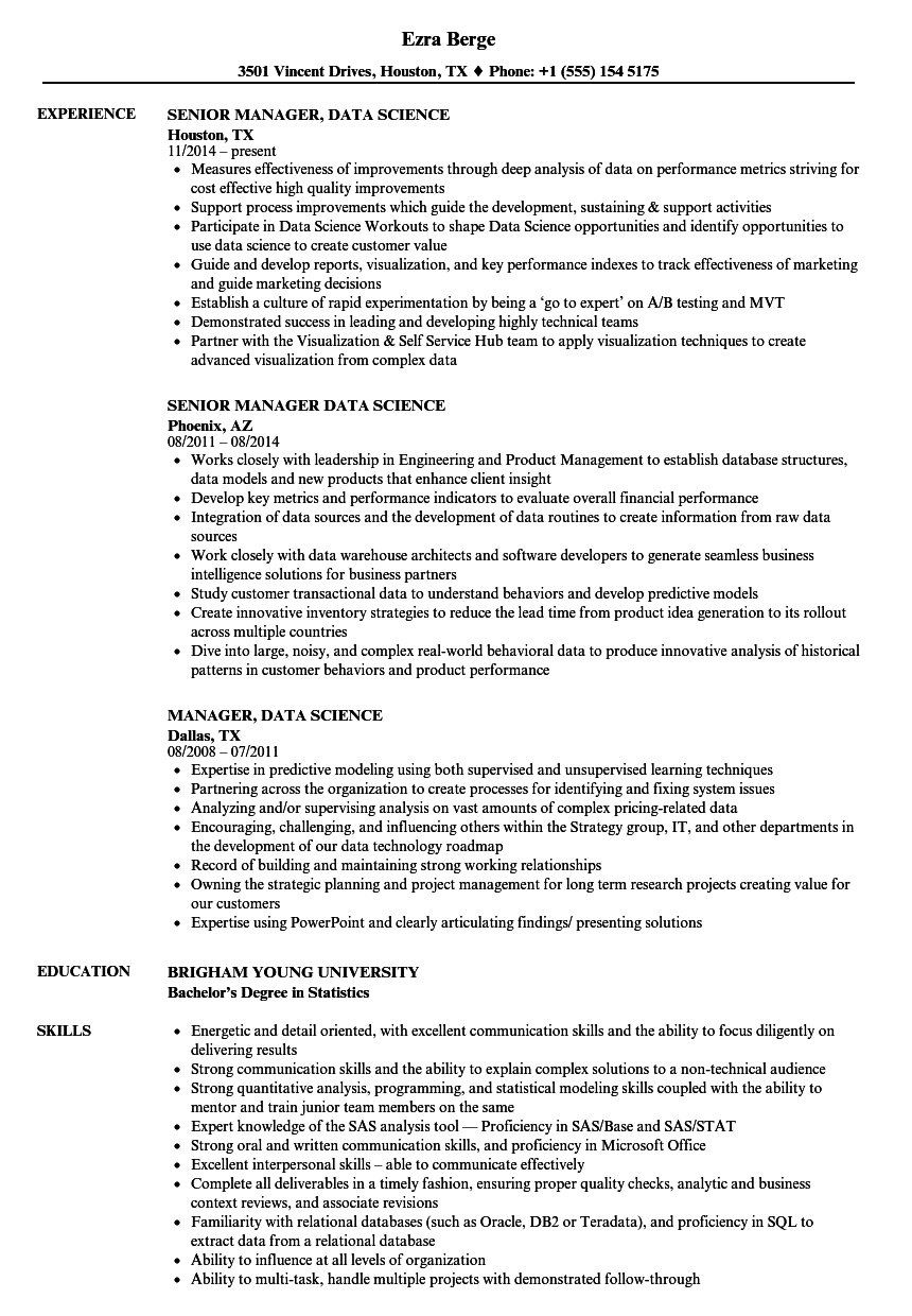 manager data science resume samples velvet jobs