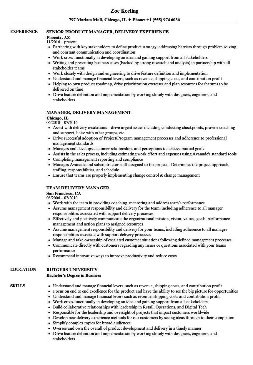 manager  delivery resume samples
