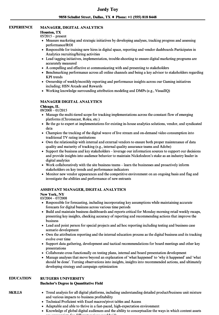 Manager, Digital Analytics Resume Samples | Velvet Jobs