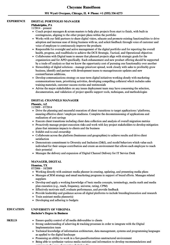 manager  digital resume samples