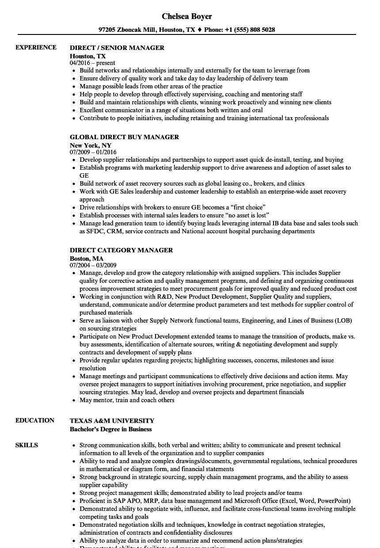 Manager Direct Resume Samples Velvet Jobs