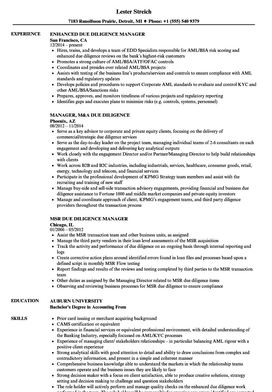 manager  due diligence resume samples
