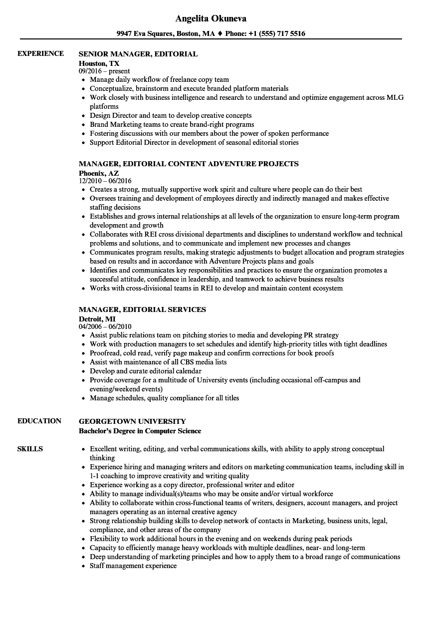 Manager, Editorial Resume Samples | Velvet Jobs