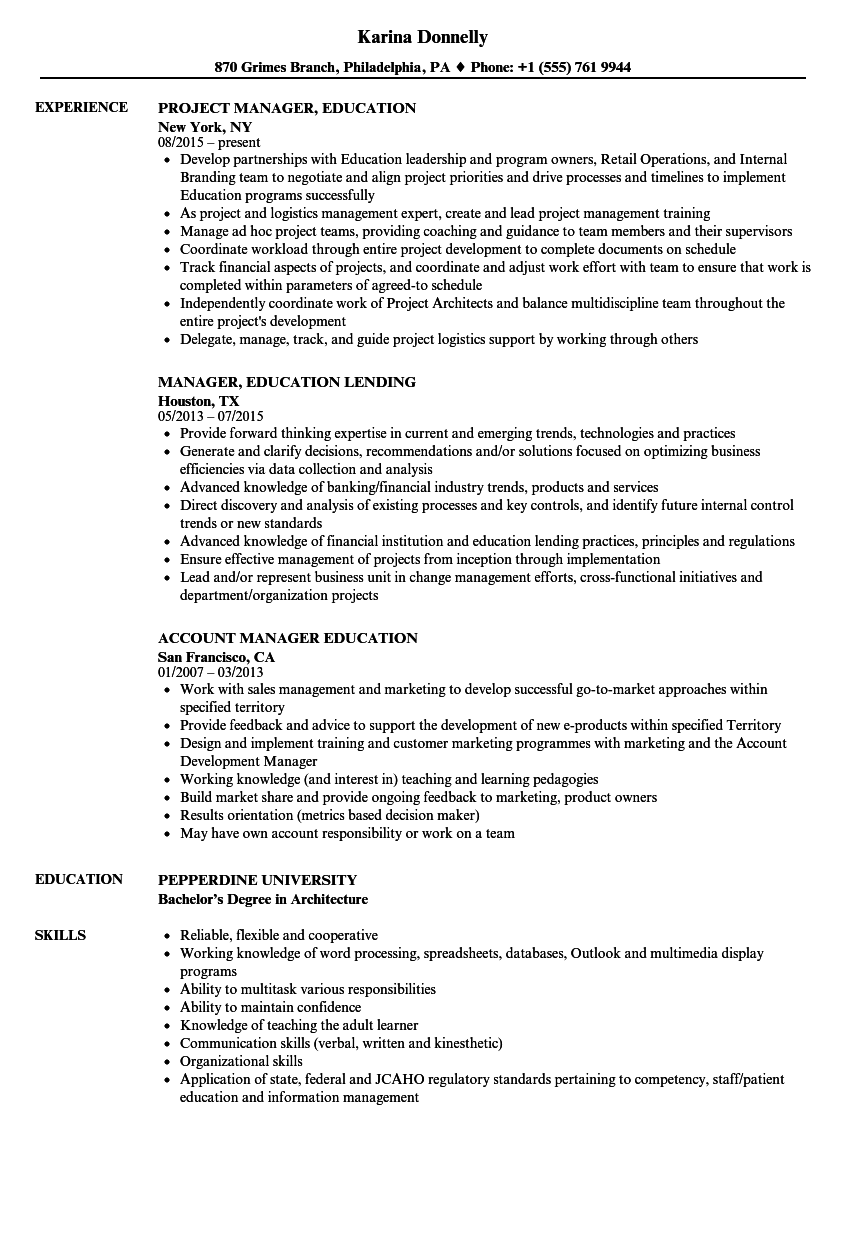 manager education resume samples