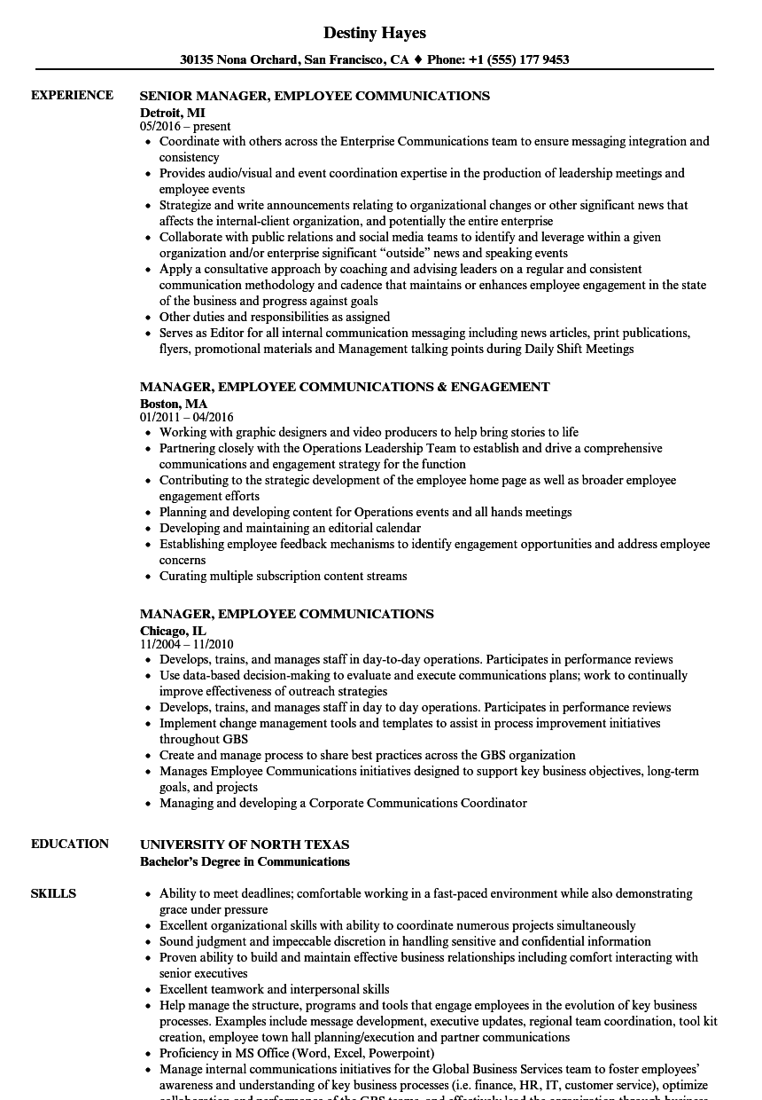manager  employee communications resume samples