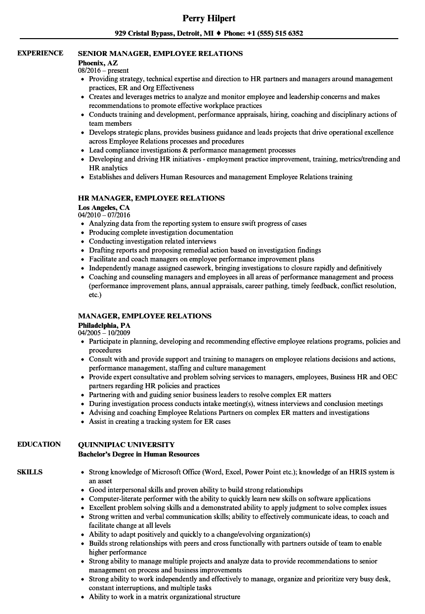 download manager employee relations resume sample as image file employee relations officer sample resume - Employee Relation Manager Resume
