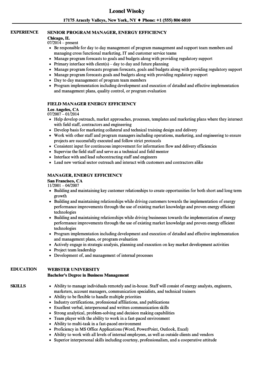 Manager Energy Efficiency Resume Samples Velvet Jobs