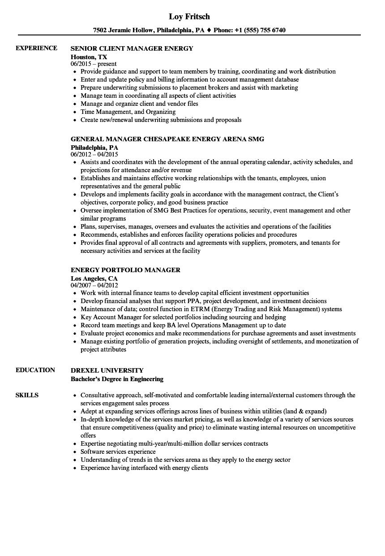 Manager Energy Resume Samples | Velvet Jobs