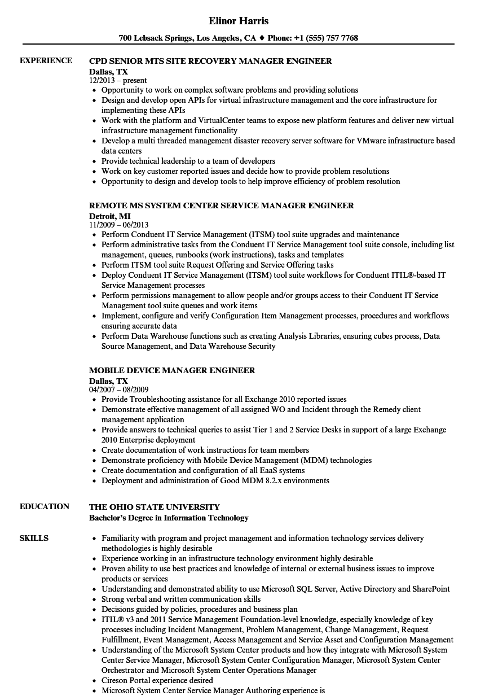 manager engineer resume samples