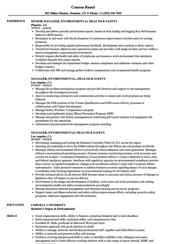 manager  environmental health  u0026 safety resume samples