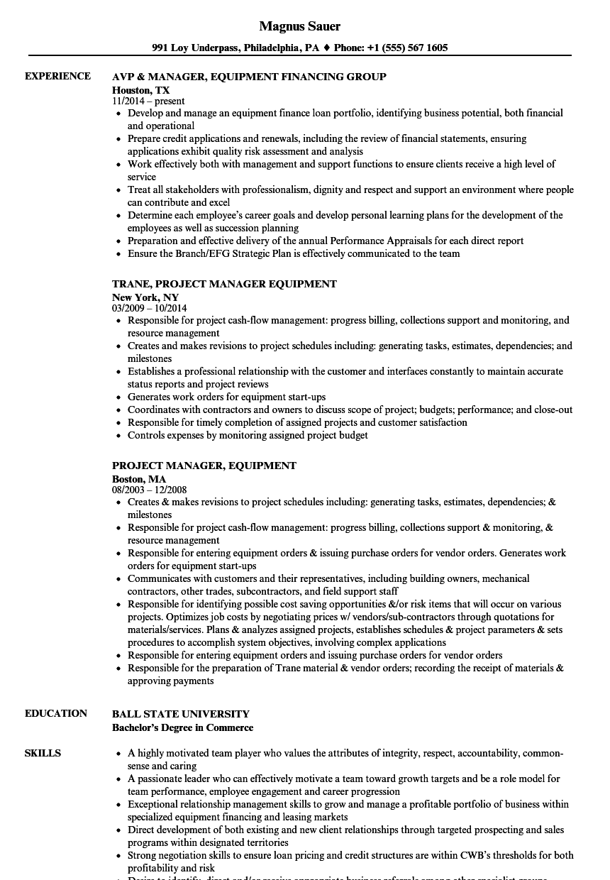 manager  equipment resume samples