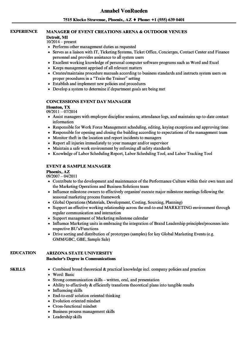 Download Manager Event Resume Sample As Image File   Wedding Manager Sample  Resume  Wedding Planner Resume