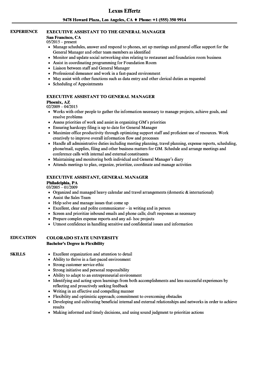 Manager, Executive Assistant Resume Samples | Velvet Jobs