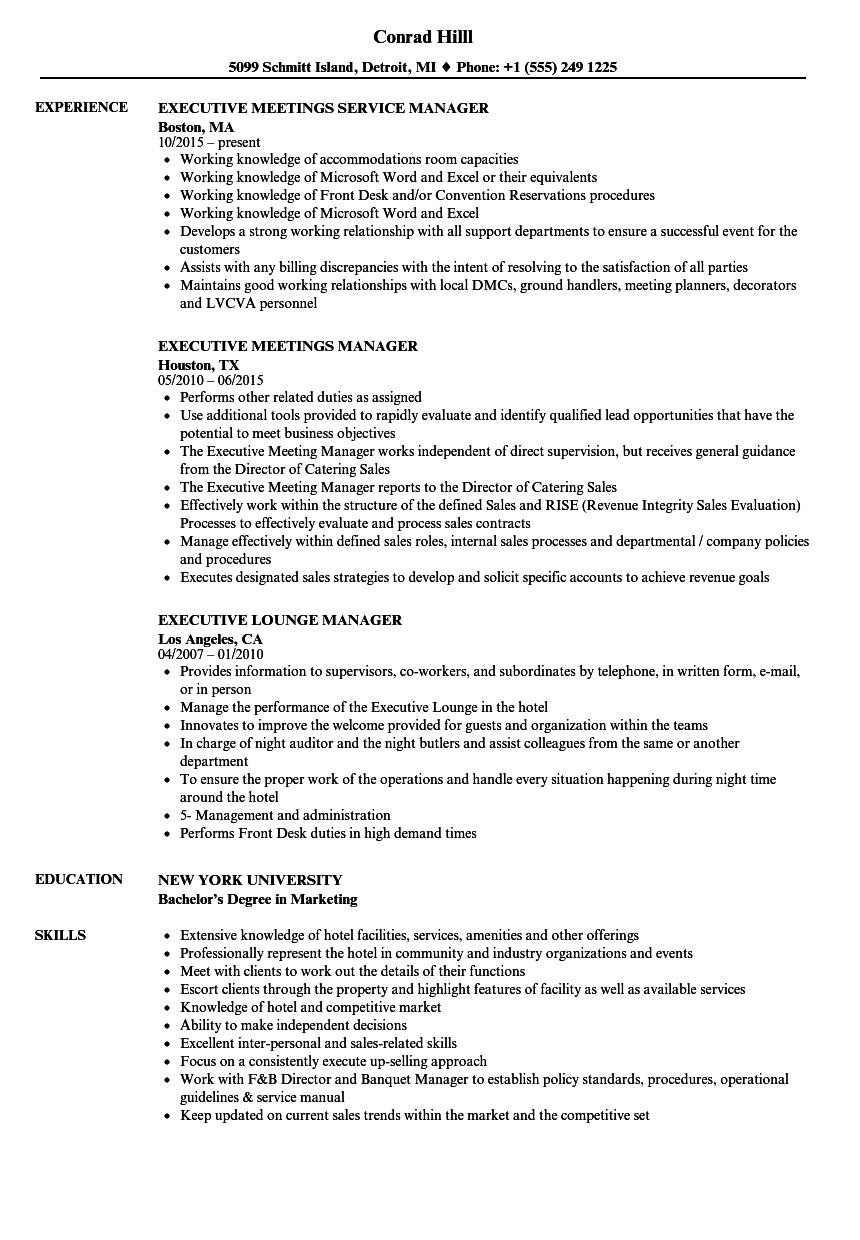 manager    executive resume samples