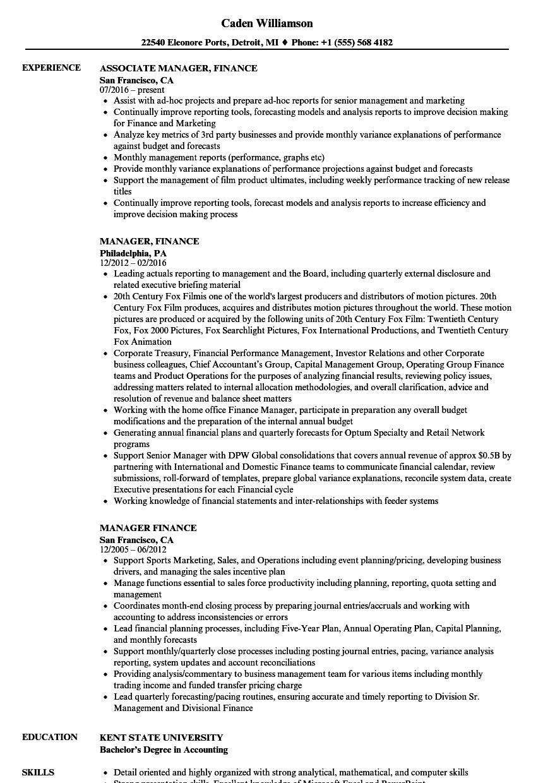manager  finance resume samples