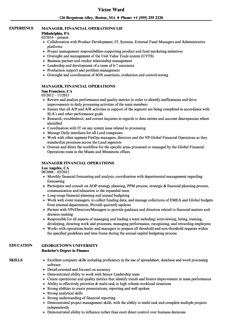 manager  financial operations resume samples
