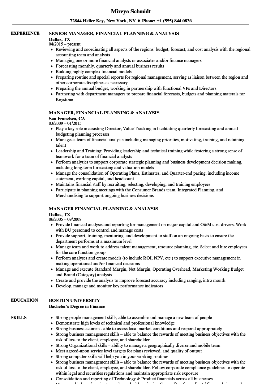 manager  financial planning resume samples
