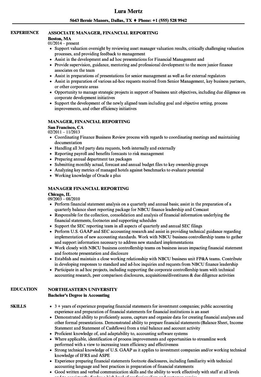 manager  financial reporting resume samples