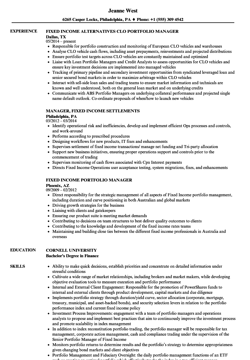 Manager, Fixed Income Resume Samples | Velvet Jobs