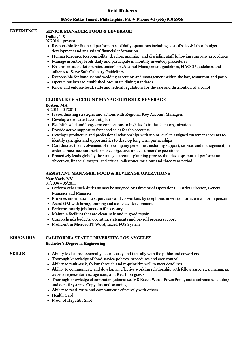 resume Director Of Food And Beverage Resume manager food beverage resume samples velvet jobs download sample as image file