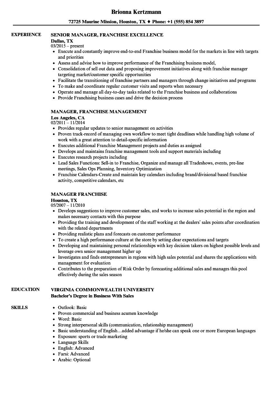 Manager Franchise Resume Samples Velvet Jobs