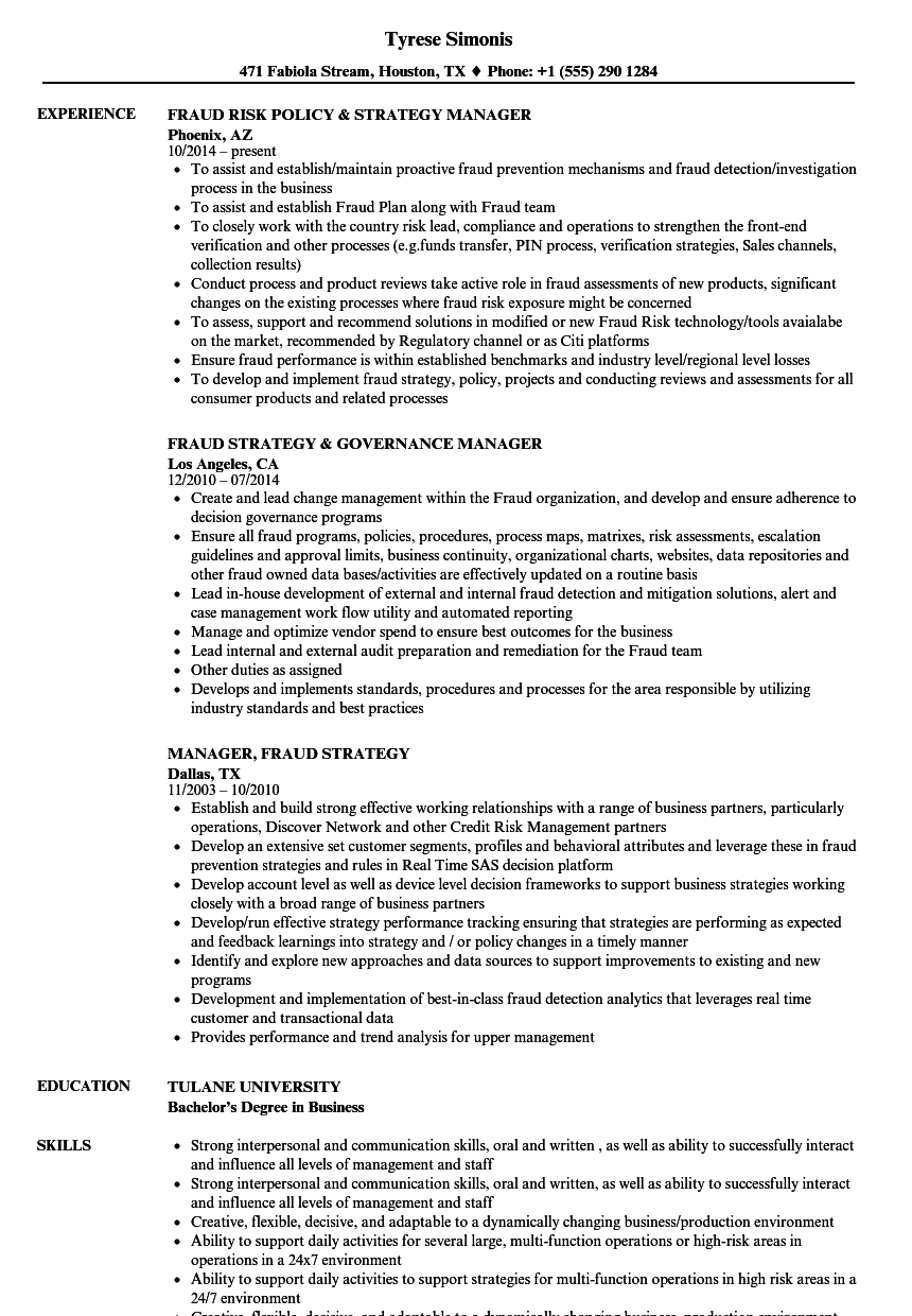 manager fraud strategy resume samples velvet jobs