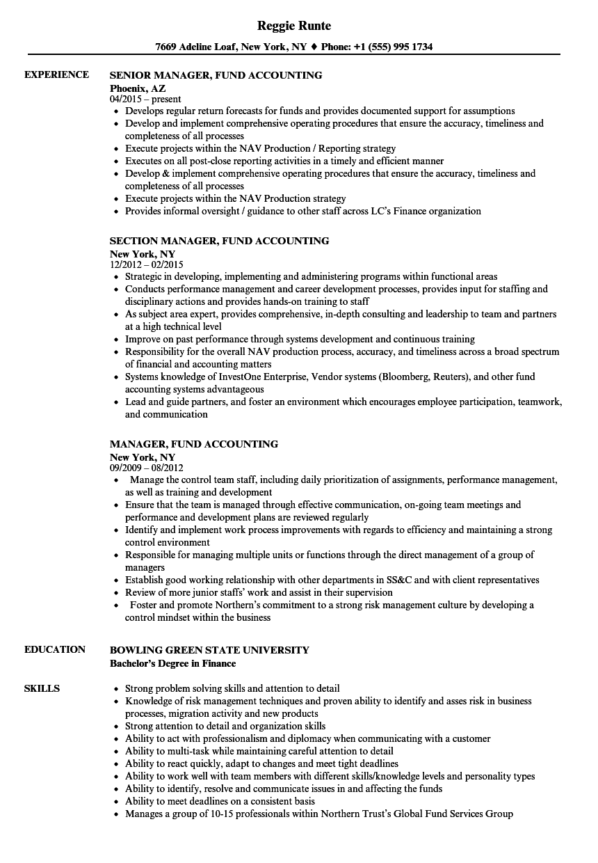 Manager, Fund Accounting Resume Samples | Velvet Jobs