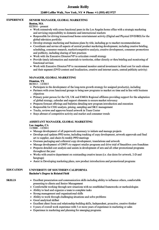 Manager, Global Marketing Resume Samples | Velvet Jobs
