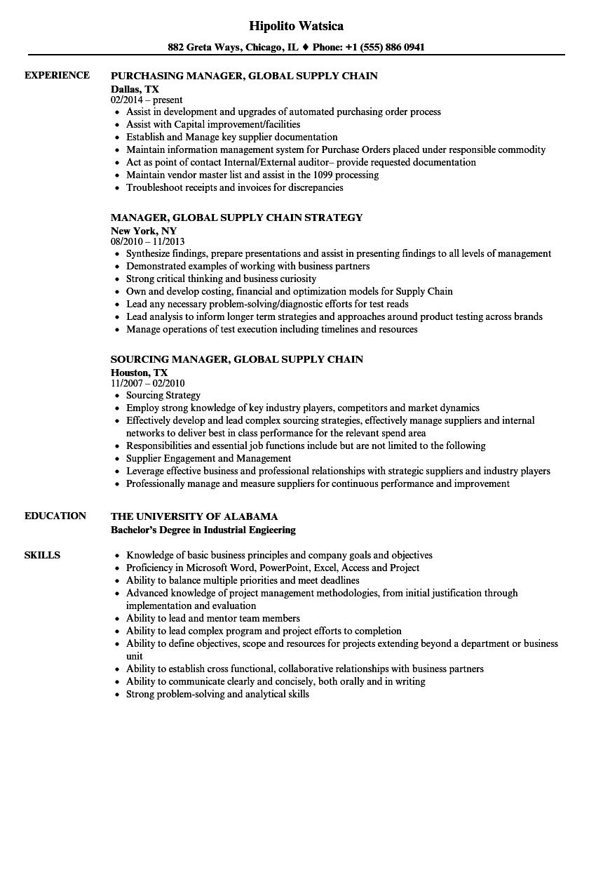 Manager Global Supply Chain Resume Samples | Velvet Jobs