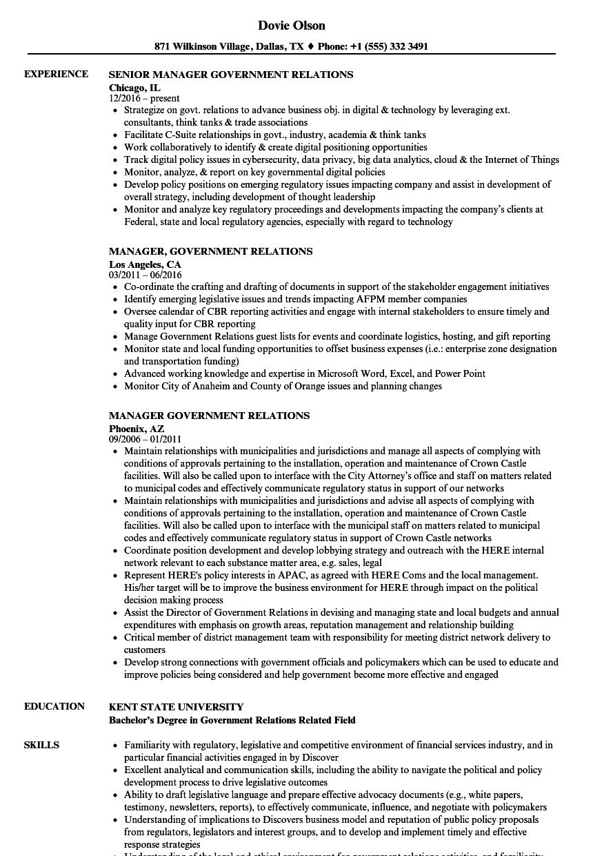 Manager, Government Relations Resume Samples | Velvet Jobs