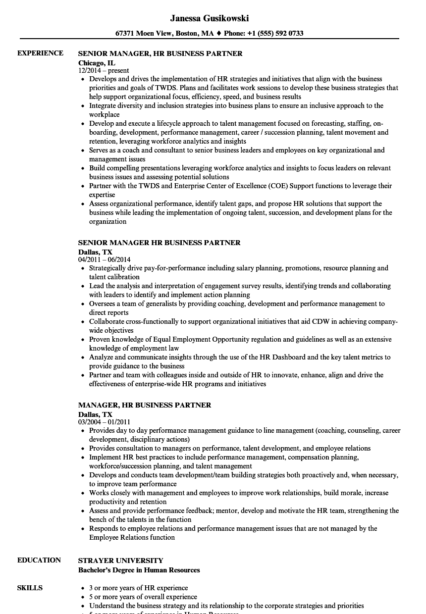 Manager Hr Business Partner Resume Samples Velvet Jobs