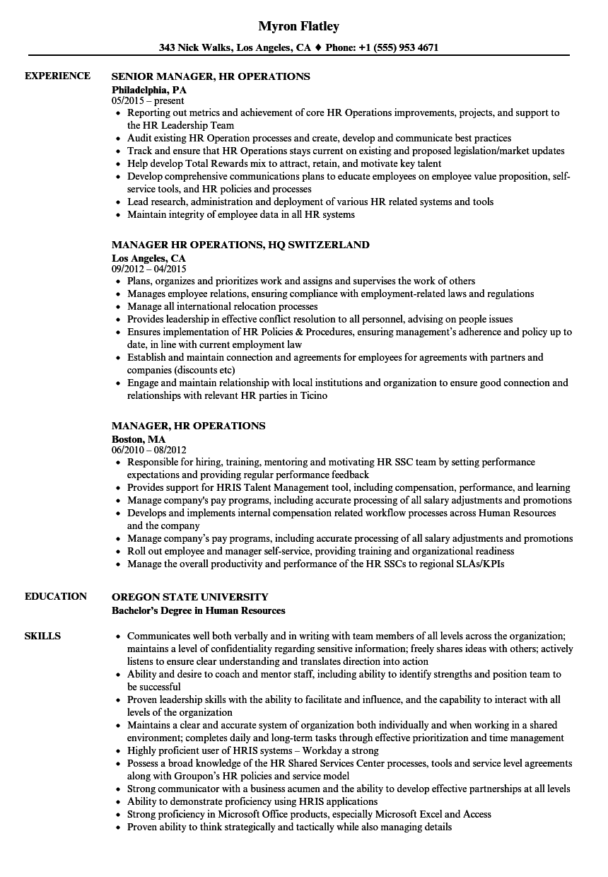 Manager, HR Operations Resume Samples | Velvet Jobs