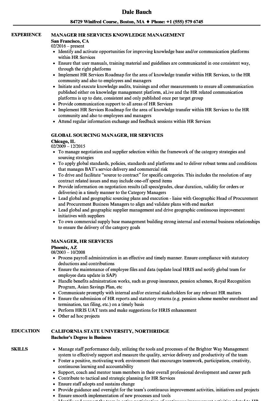 manager  hr services resume samples
