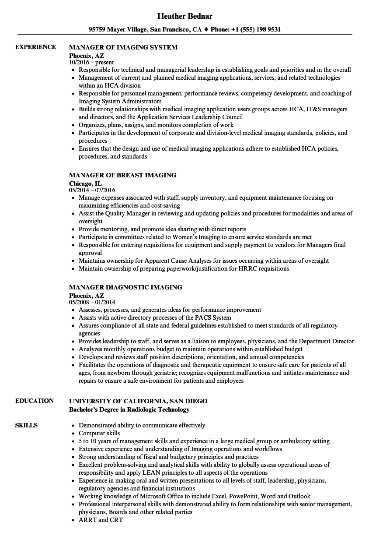 manager imaging resume samples