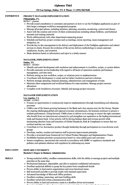 manager  implementation resume samples
