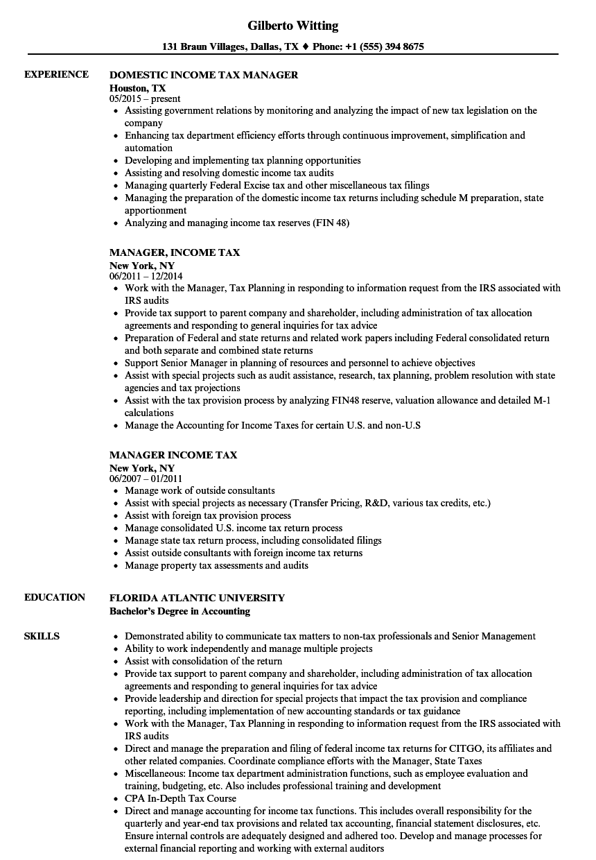 Manager, Income Tax Resume Samples | Velvet Jobs