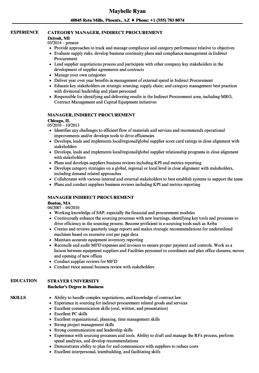 manager indirect procurement resume samples
