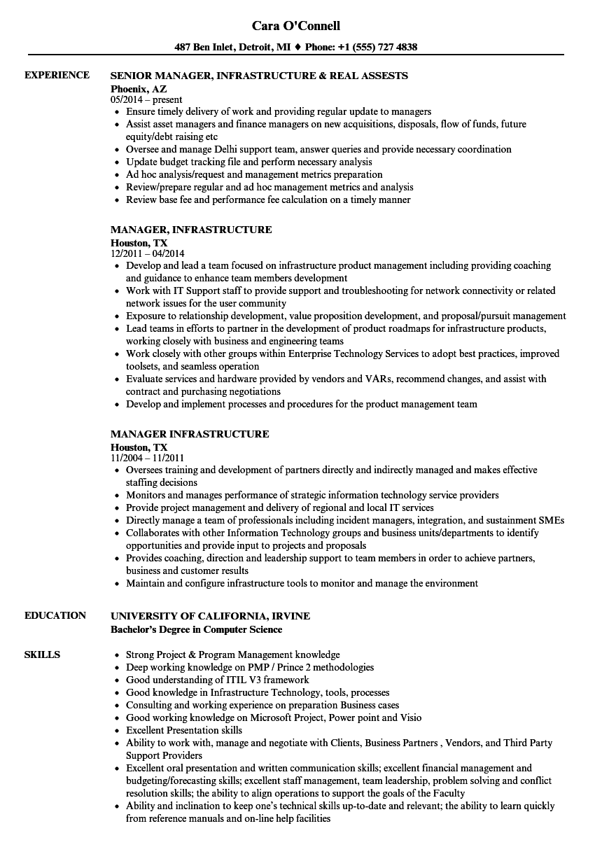 Manager Infrastructure Resume Samples Velvet Jobs