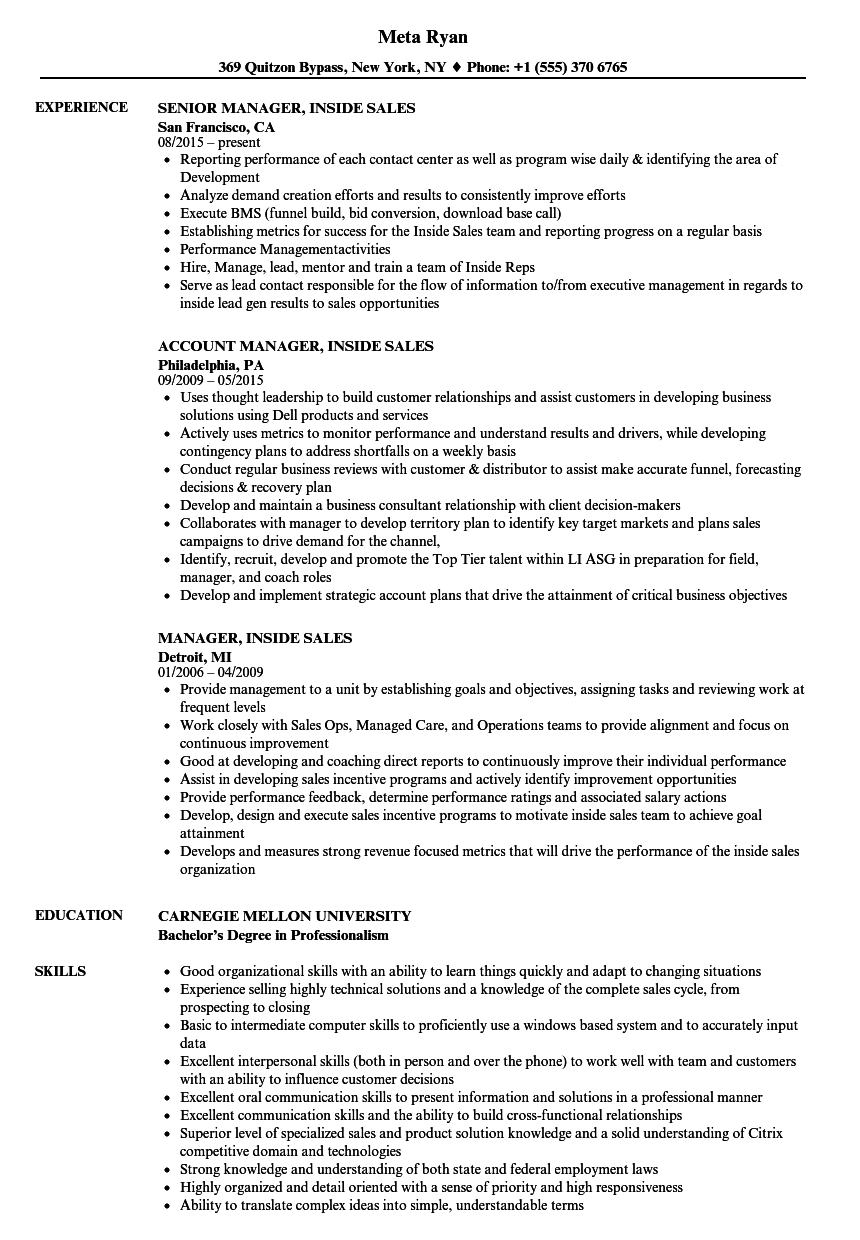 manager inside sales resume samples velvet jobs