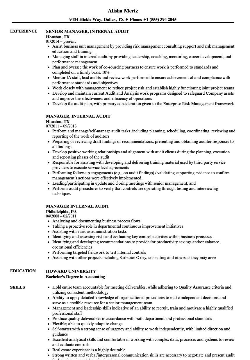 Manager, Internal Audit Resume Samples | Velvet Jobs