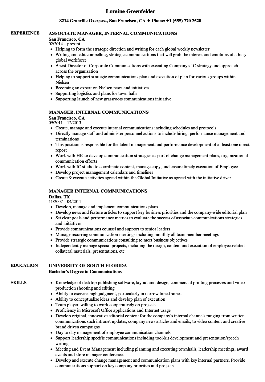 manager  internal communications resume samples