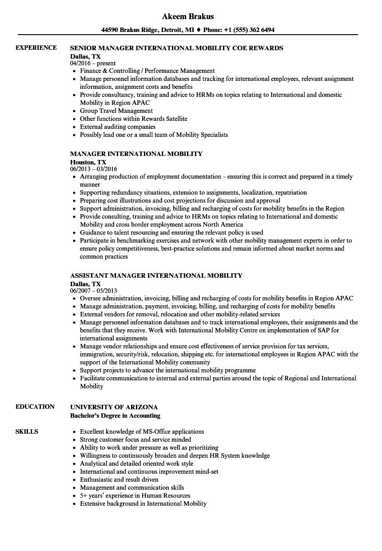 Manager, International Resume Samples | Velvet Jobs