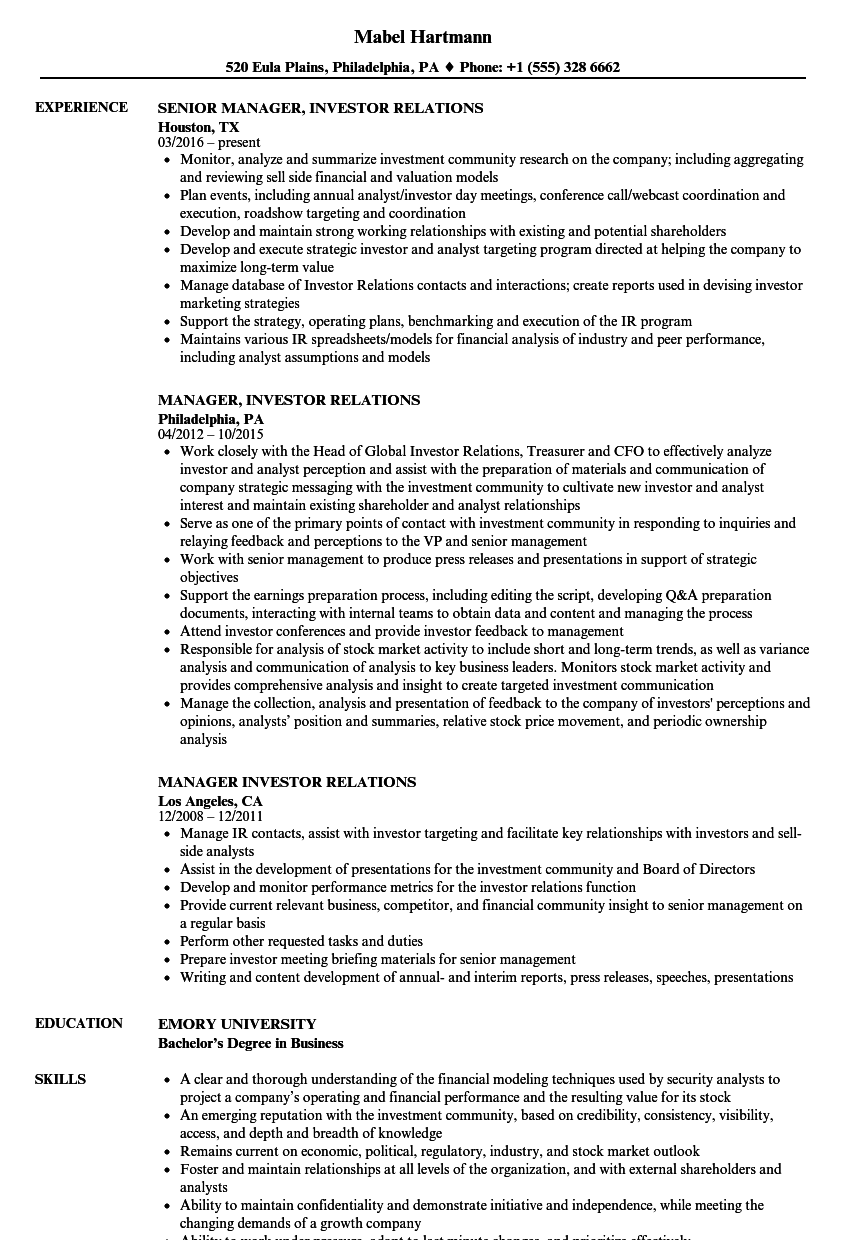Business Relations Manager Resume July 2020