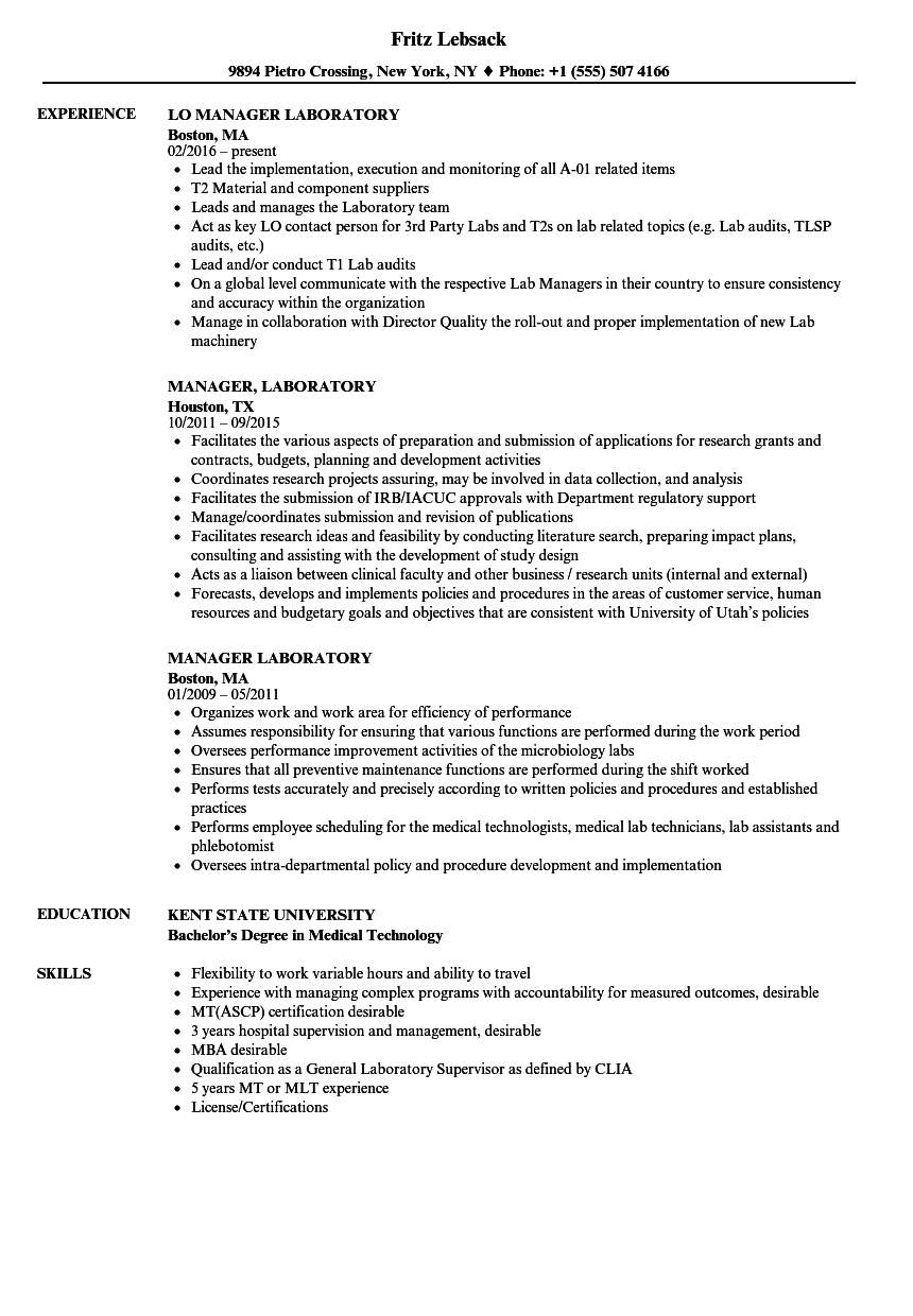 Manager Laboratory Resume Samples Velvet Jobs
