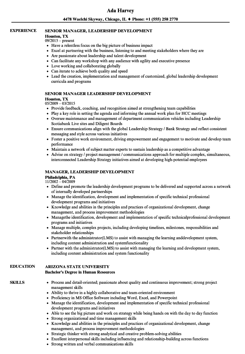 Manager Leadership Development Resume Samples Velvet Jobs
